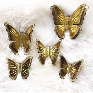 Vintage Metal Homco Home Interior Butterfly Set
